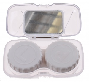 Lifetime-Vision contact lens case travel set transparent