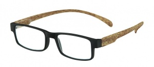 LookOfar lunettes de lecture Monkey Wood noir/marron force +2,50 (le-0179A)